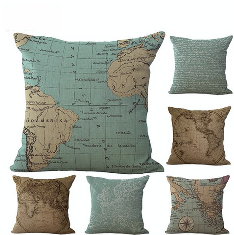 "Vintage 18"" Square Map Pillow Covers (Different Styles Available)"