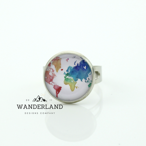Premium Colorful World Glass Globe Ring