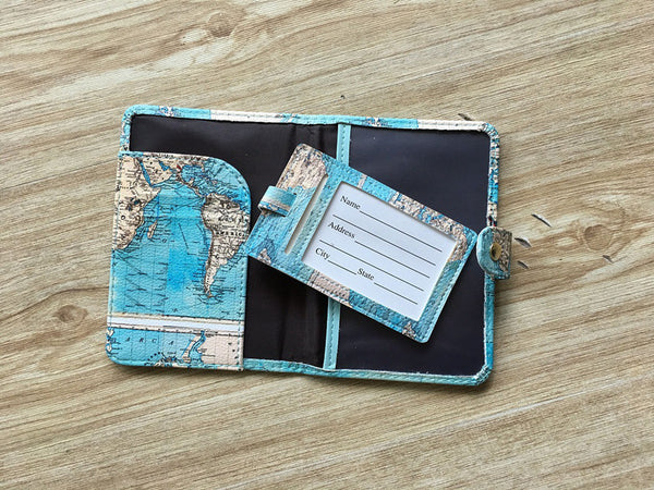 Wanderlust Passport Cover and Luggage Tag Bundle