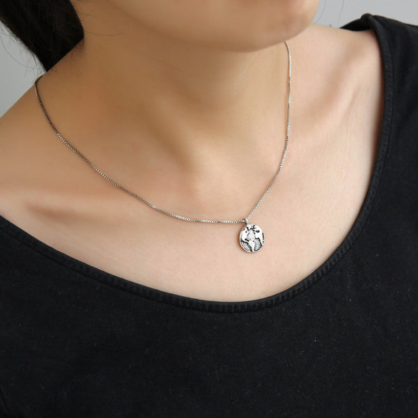 Premium Silver World Map Necklace