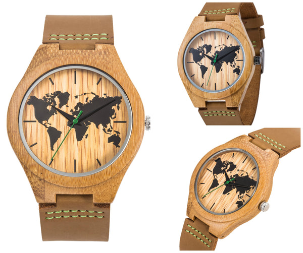 Premium Wooden World Map Watch (With Leather Band)