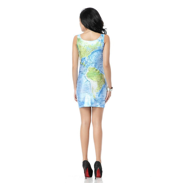 Beautiful World Map Dress