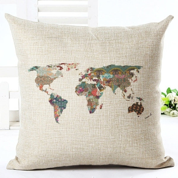 Premium World Map Pillow Covers