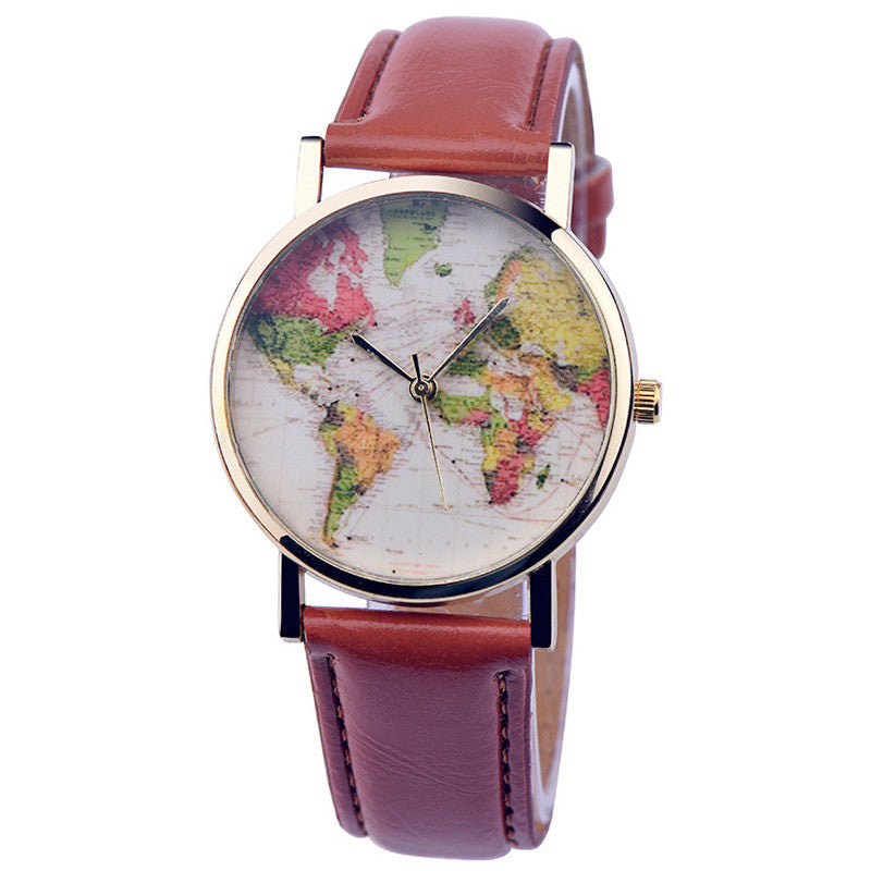 Premium Leather World Map Watch - FREE WORLDWIDE SHIPPING