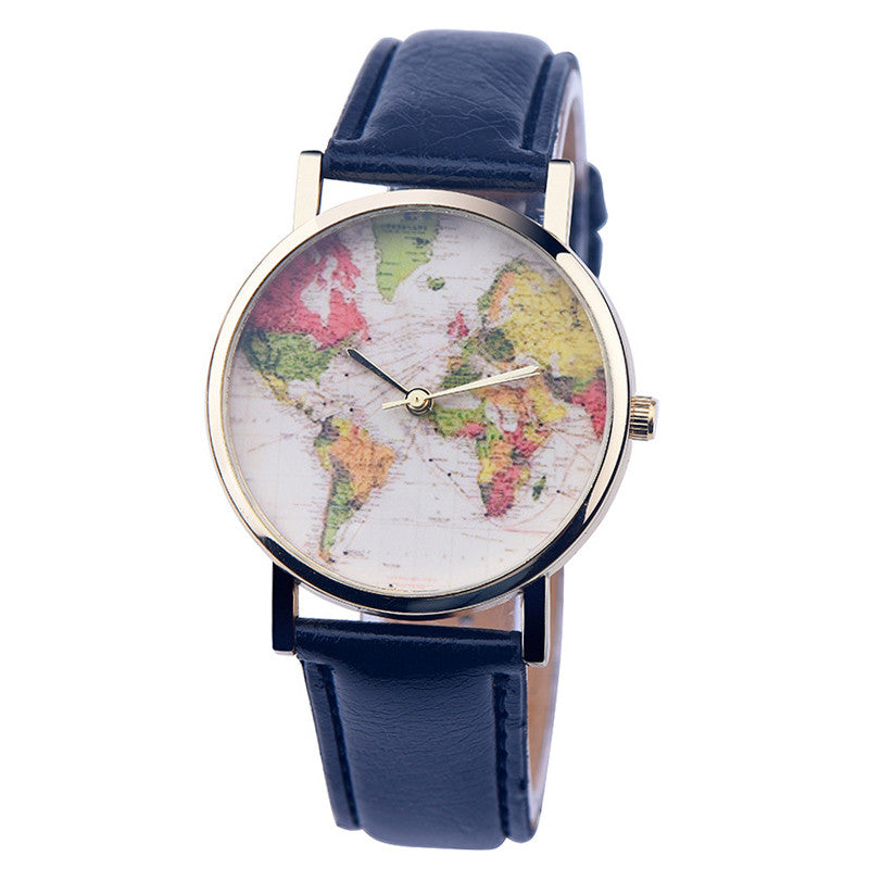 Premium leather world map watch free worldwide shipping premium leather world map watch free worldwide shipping gumiabroncs Images