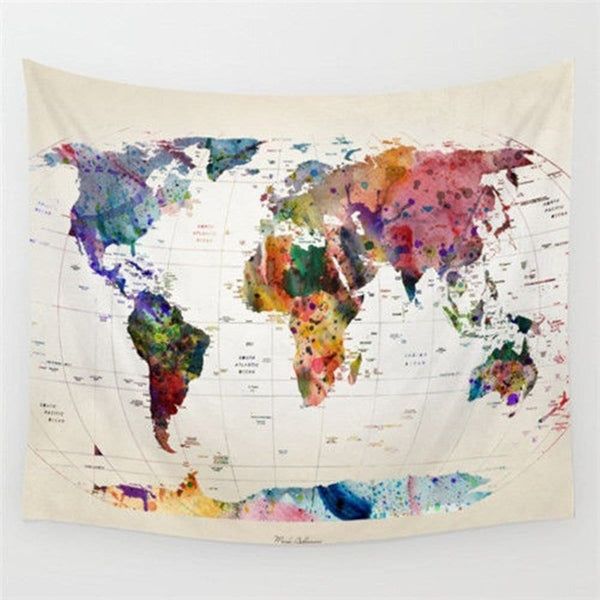 World Map Polyester Tapestry - FREE SHIPPING WORLDWIDE