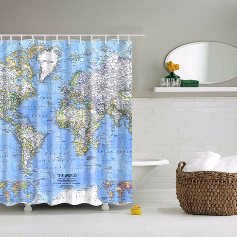 Premium World Map Shower Curtain