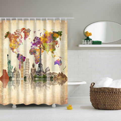 Premium Colorful World Map Shower Curtain