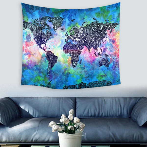 World Map Mandala Tapestry - FREE SHIPPING WORLDWIDE