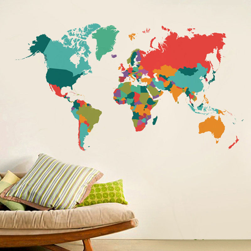 Colorful World Map Decal Wanderland Designs - Colorful world map