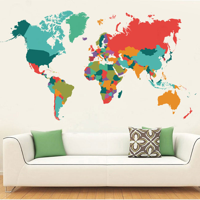 Colorful World Map Decal – Wanderland Designs