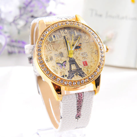 Elegant Paris Tower Butterfly Watch