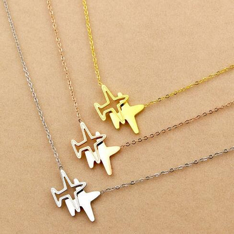 Elegant Double Aircraft Pendant Necklace