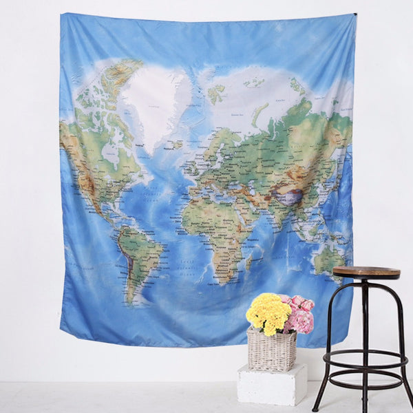 Beautiful Detailed World Map Tapestry