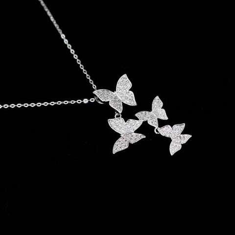 Elegant Zircon Butterfly Necklace