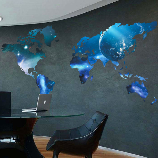 Galactic World Map Wall Decal