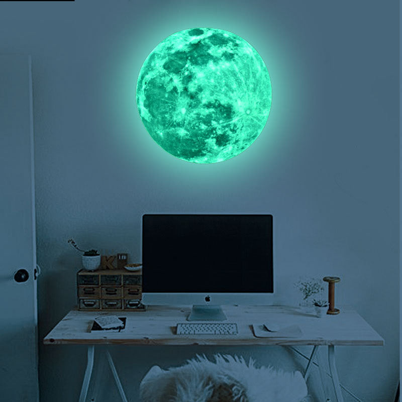 large glow in the dark moon wall decal wanderland designs. Black Bedroom Furniture Sets. Home Design Ideas