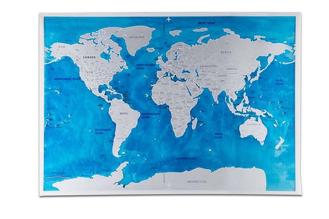 Globetrotter Scratchable Map - Silver Oceans Edition