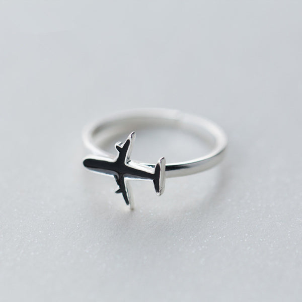 Elegant Sterling Silver Airplane Ring