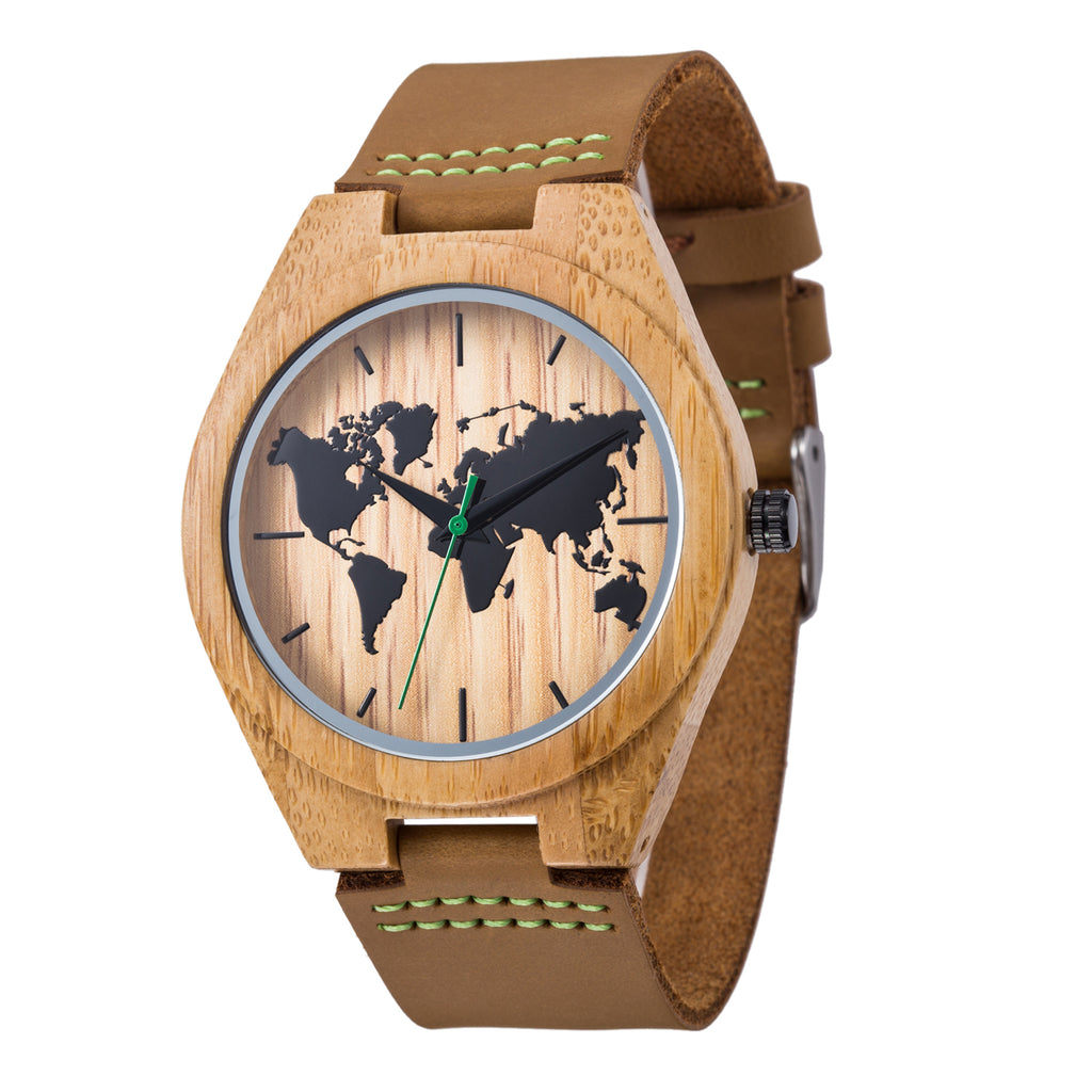 Watch With World Map Premium Wooden World Map Watch (With Leather Band) – Wanderland