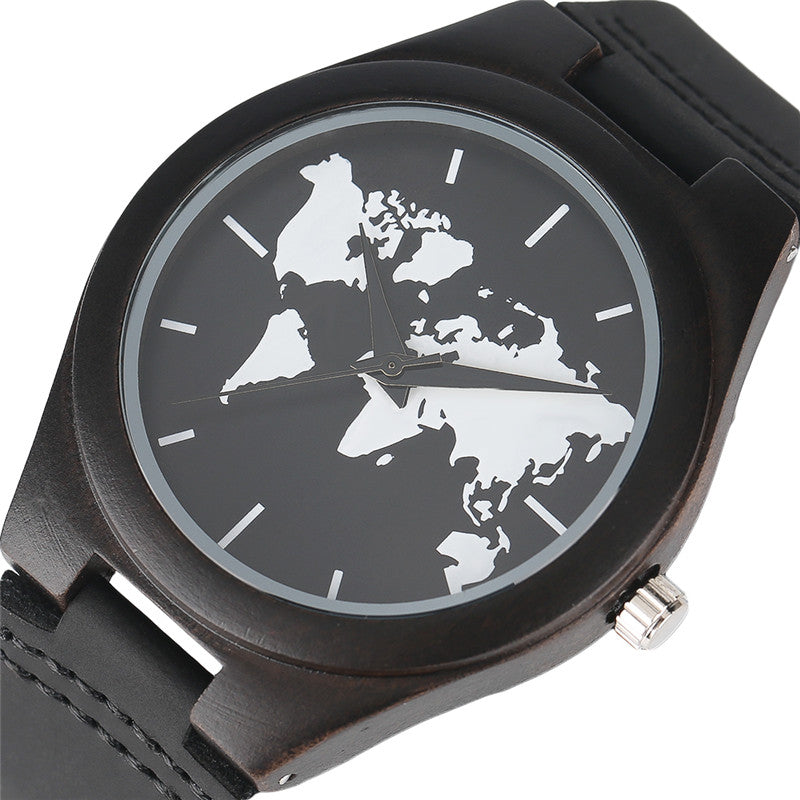 Premium wooden world map watch with leather band wanderland designs premium wooden world map watch with leather band gumiabroncs Gallery