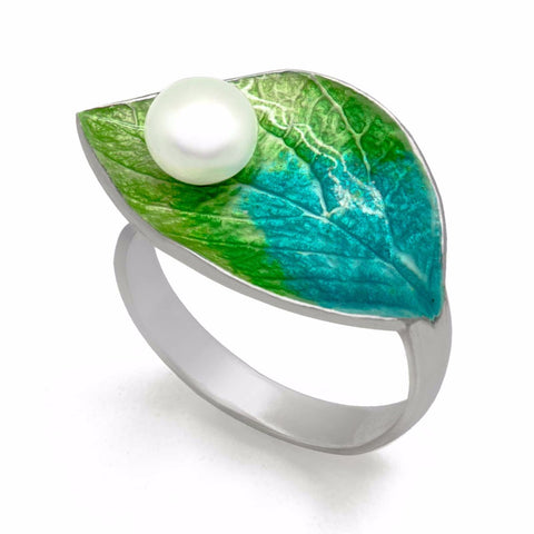 Sterling Silver Premium Leaf Adjustable Ring With Pearl