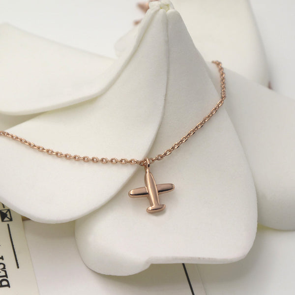 Beautiful Rose Gold-Plated Small Airplane Necklace