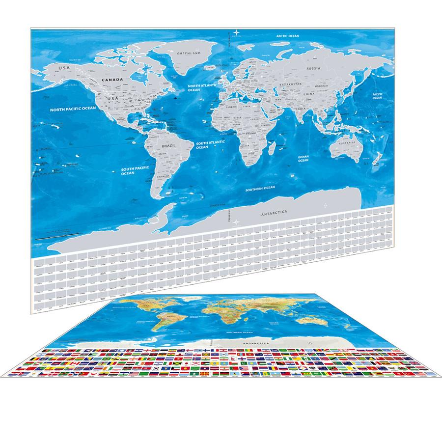 Map Of World Flags.Globetrotter Scratchable World Map Silver World Flags Edition