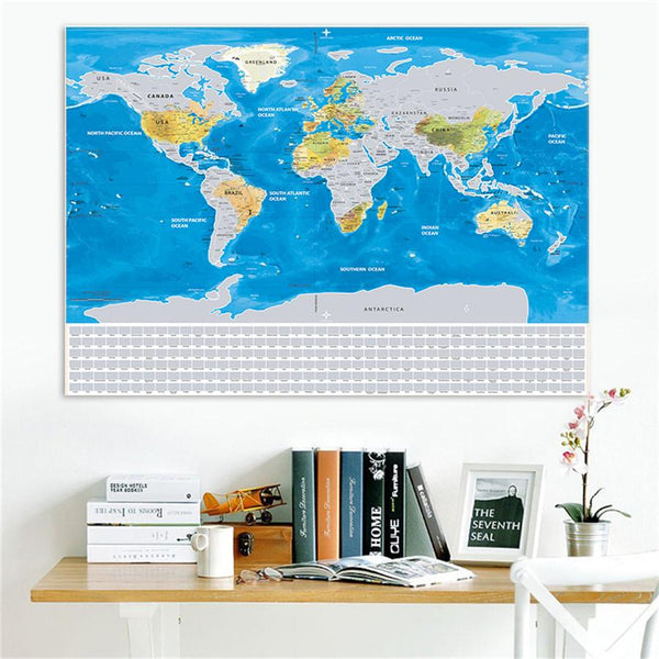 GLOBETROTTER SCRATCHABLE WORLD MAP - SILVER WORLD FLAGS EDITION