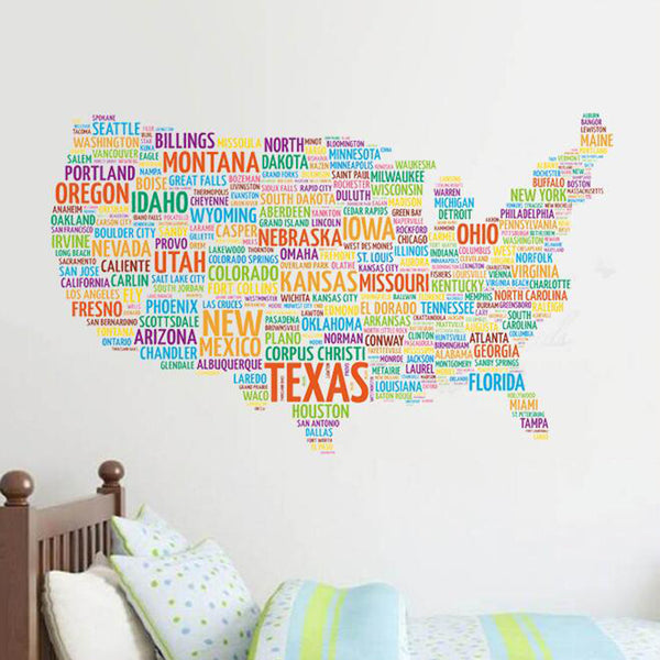 Premium US Map Wall Sticker