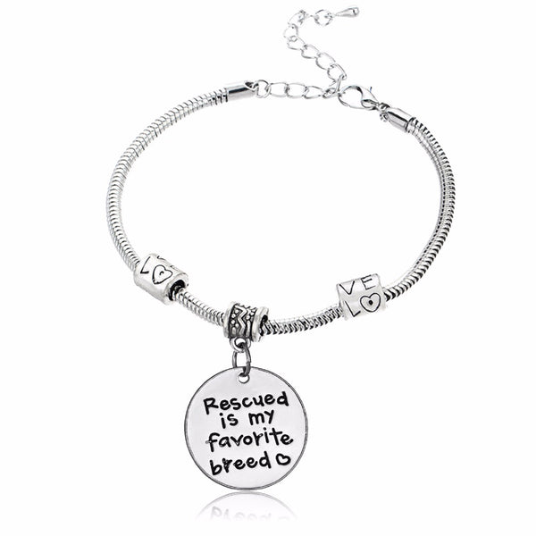 Rescued Is My Favorite Breed Charm Bracelet