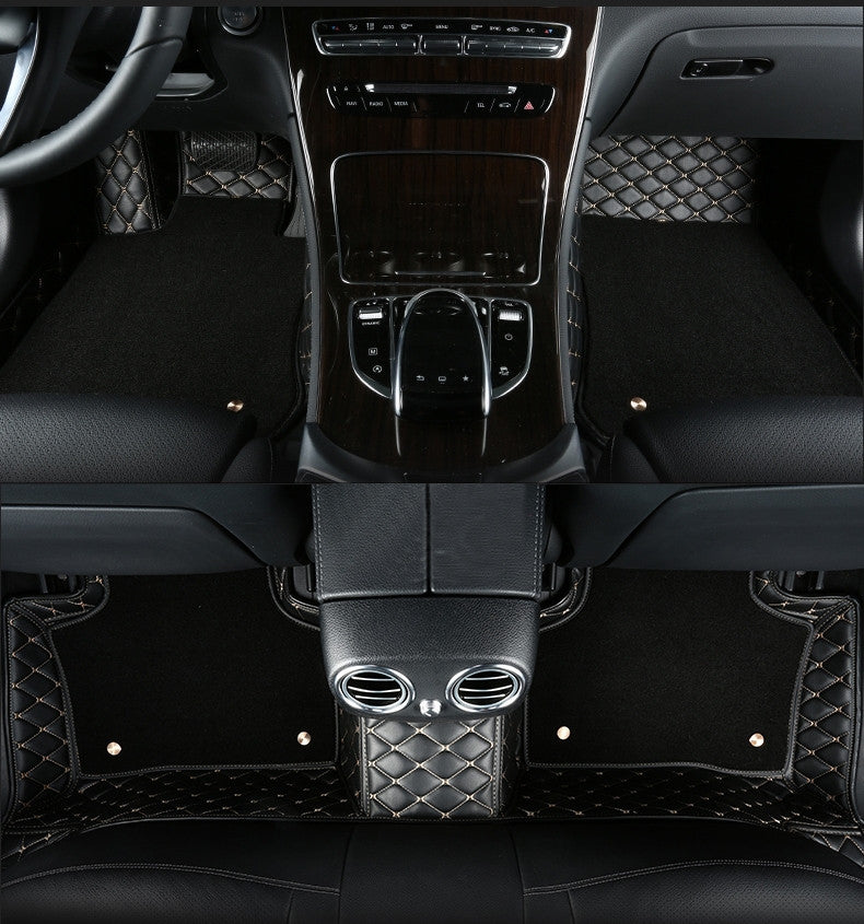 Premium Diamond Floor Mats Black With White Stitching Mercedes