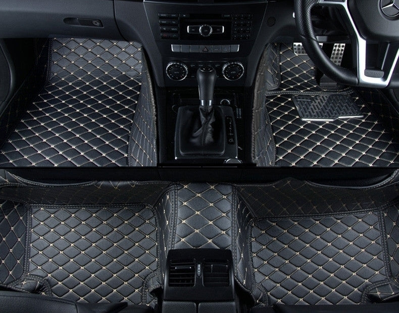 Diamond Floor Mats (Black With Gold Stitching)   Aston Martin
