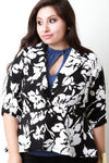 Abstract Floral Print Single Button Blazer,Plus Sizes, Outerwear & Jackets +,CollectiveFab,Epiq Wear