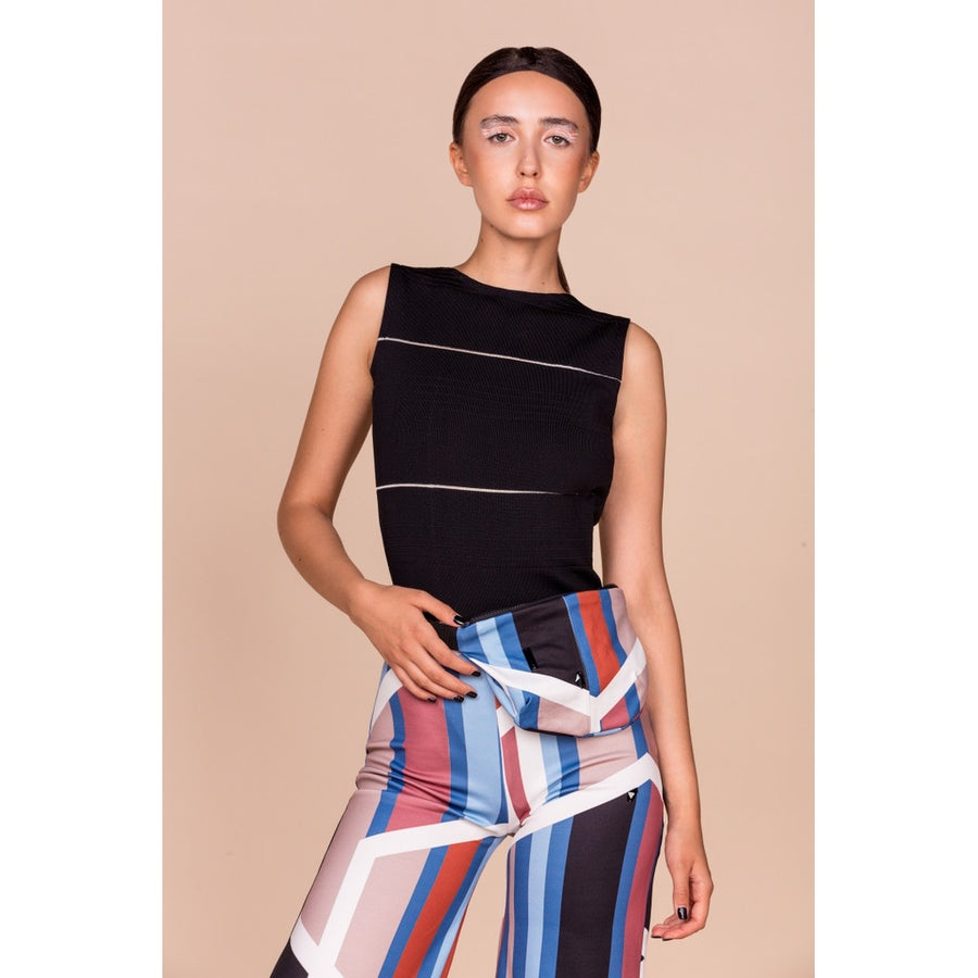 Digital Geometric Print with Swarovski Crystal details Culottes Trousers