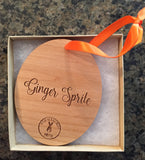 Ginger Sprite Bunny Ornament - Engraved Wood - Mister's Garden