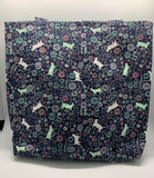Floral Cats Navy Blue Bag