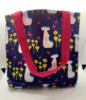 Cats in Garden Navy Blue Bag