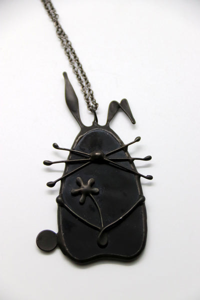 Stained Glass Bunny Pendant - Black