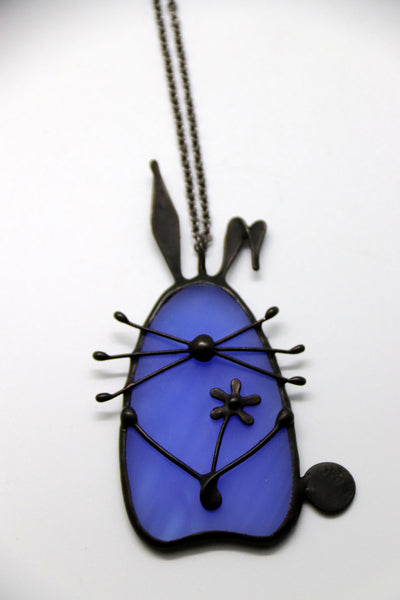 Stained Glass Bunny Pendant - Royal Blue