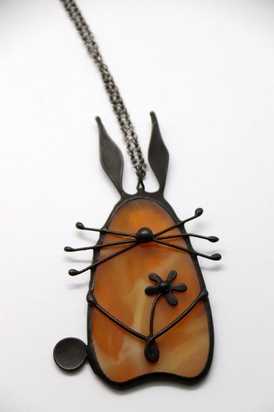 Stained Glass Bunny Pendant - Amber Brown