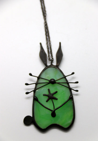 Stained Glass Bunny Pendant - Green