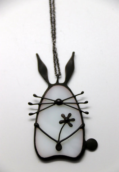 Stained Glass Bunny Pendant - White
