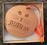 JellyBean the Kitty Ornament - Engraved Wood - Mister's Garden