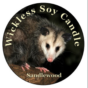Mister's Garden Wickless Soy Candle - Finley Grace - Awesome Possum Candle - Opossum Lover Gift