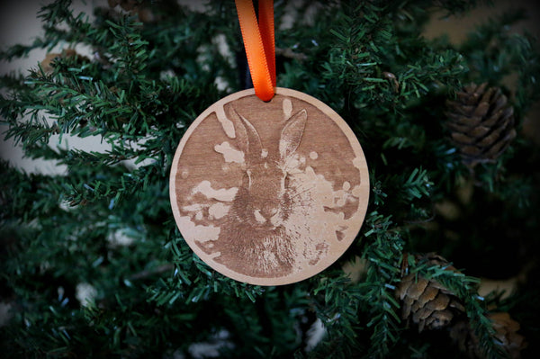 Nutmeg Bunny Ornament - Engraved Wood - Mister's Garden