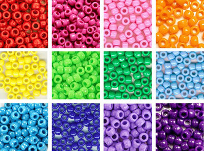 Rainbow Pony Bead Variety Pack - 12 opaque colors