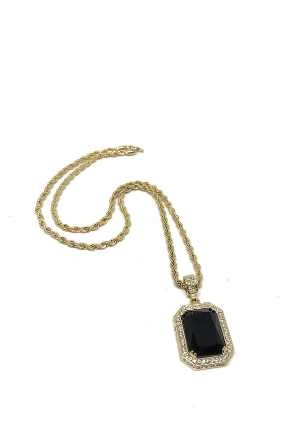 Gold Plated Black Ruby Necklace
