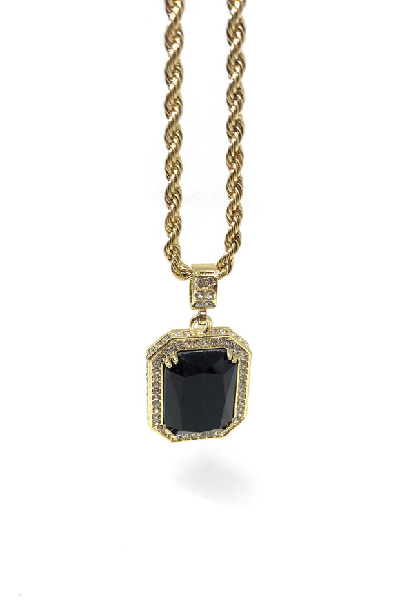Black Ruby Gold Necklace
