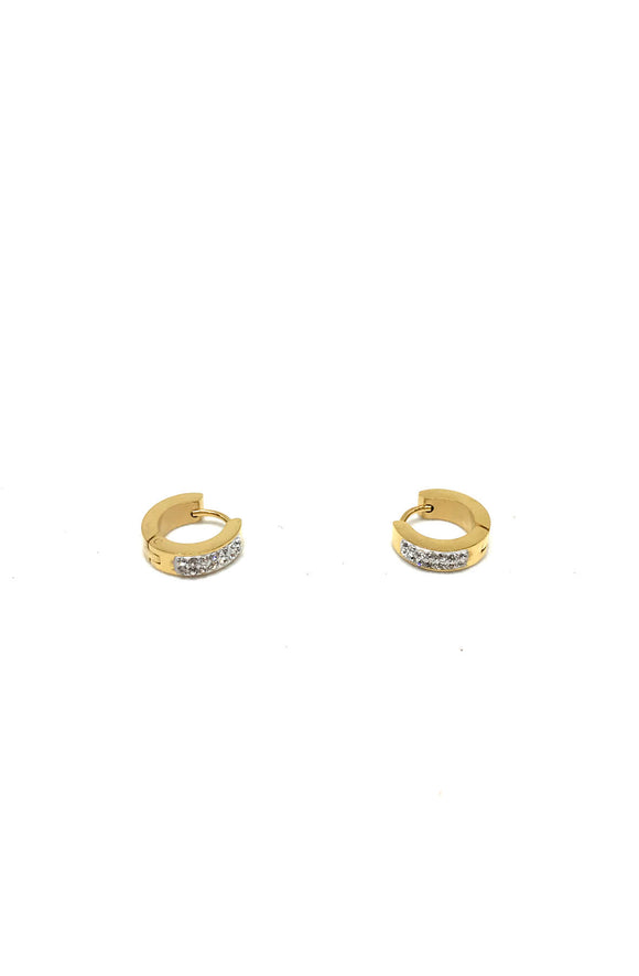 Iced Out Stainless Steel Gold Hoop Earrings